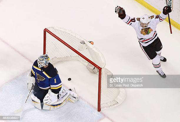 Chicago Blackhawks left wing Brandon Saad reacts after teammate Marcus Kruger not pictured scored the first goal of the game against St Louis Blues...