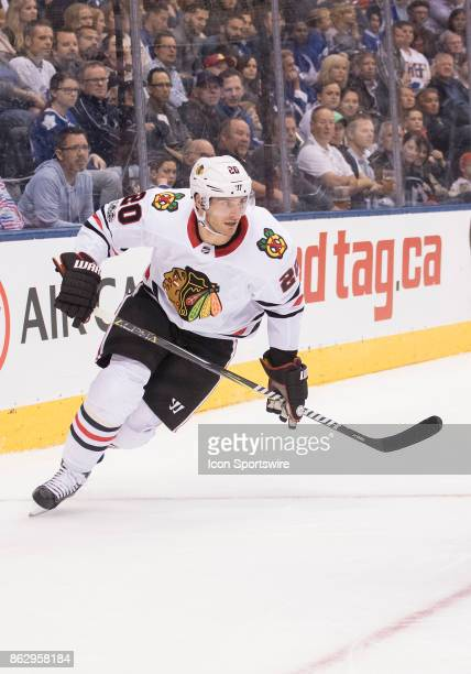 Chicago Blackhawks left wing Brandon Saad skates up ice in the first period during the Toronto Maple Leafs game versus the Chicago Blackhawks on...