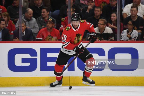Chicago Blackhawks left wing Patrick Sharp controls the puck during a game between the Chicago Blackhawks and the Minnesota Wild on October 12 at the...