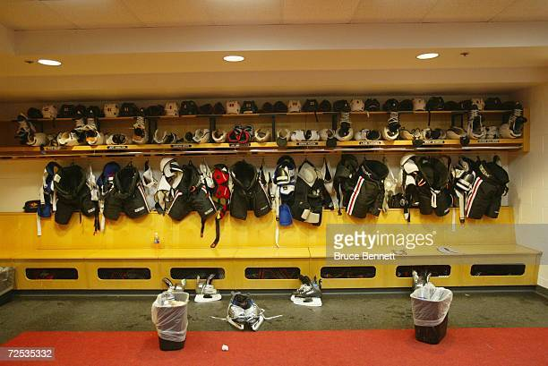 Chicago Blackhawks players gear hangs in the locker room before the game against the Detroit Red Wings on November 2 2006 at the United Center in...
