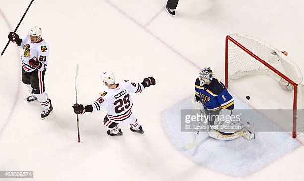 Chicago Blackhawks right wing Marian Hossa reacts after scoring the goahead goal against St Louis Blues goaltender Brian Elliott during third period...