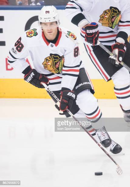 Chicago Blackhawks right wing Patrick Kane skates during the warm up before the Toronto Maple Leafs game versus the Chicago Blackhawks on October 09...