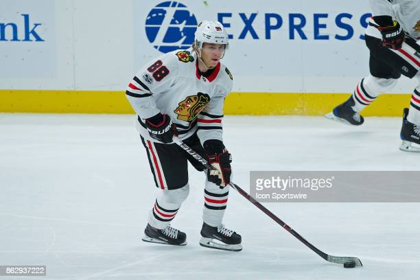 Chicago Blackhawks right wing Patrick Kane skates with the puck during a NHL hockey game between the St Louis Blues and the Chicago Blackhawks on...