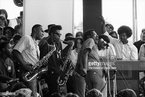 Chicago blues legends Buddy Guy and Junior Wells perform at the Newport Folk Festival in July 1968 in Newport Rhode Island The band includes lr...