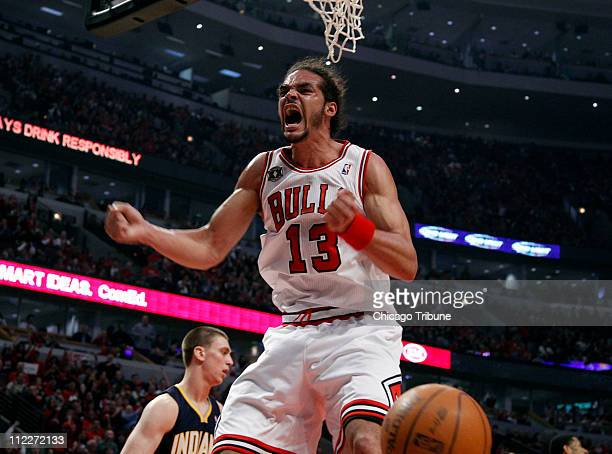 Chicago Bulls center Joakim Noah pumps himself after dunking against the Indiana Pacers in the first half of Game 1 of the NBA Eastern Conference...