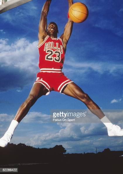 Chicago Bulls' center Michael Jordan for an action portrait circa 1980's