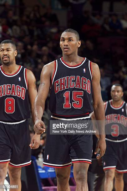 Chicago Bulls' Dickey Simpkins Ron Artest and Hersey Hawkins are on the court during a game against the New York Knicks at Madison Square Garden