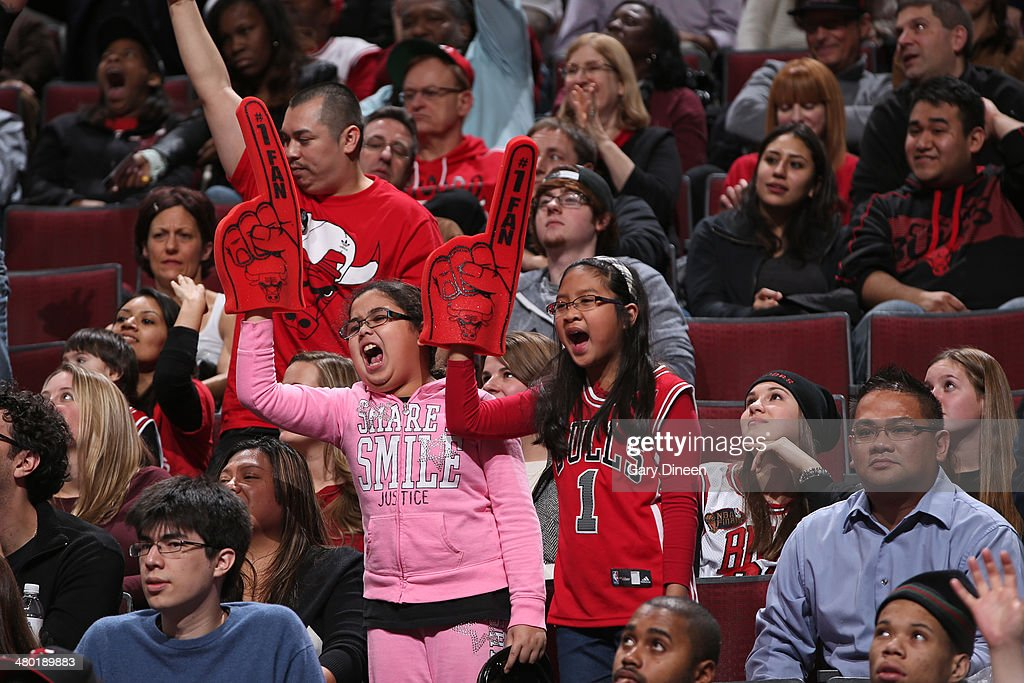 Chicago Bulls fans cheers during a game against the New Orleans Pelicans on December 2, 2013 at the United Center in Chicago, Illinois.