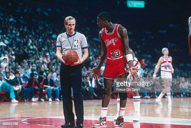 Chicago Bulls' forward Michael Jordan shrugs his shoulders as he talks to a referee during a game against the Washington Bullets at Capital Centre...