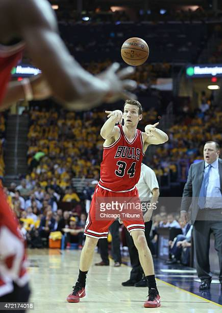 Chicago Bulls forward Mike Dunleavy passes the ball during the second quarter of Game 1 of the Eastern Conference semifinals on Monday May 4 at...