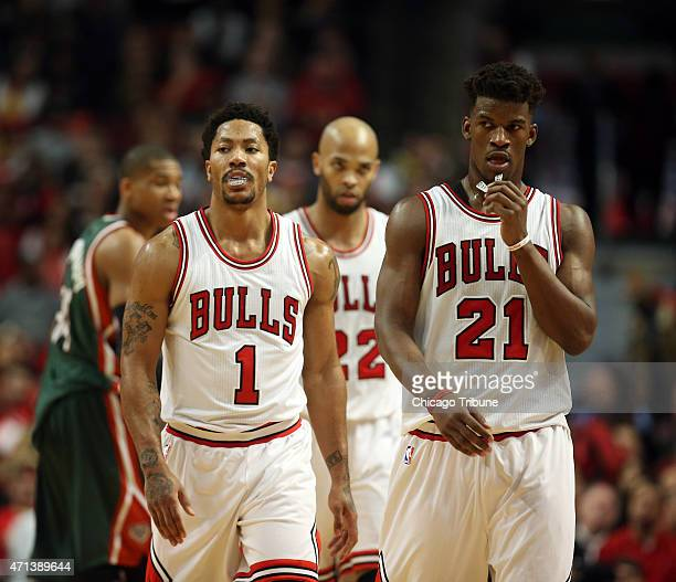 Chicago Bulls guard Derrick Rose and guard Jimmy Butler head to halftime on Monday April 27 at the United Center in Chicago in Game 5 of a firstround...