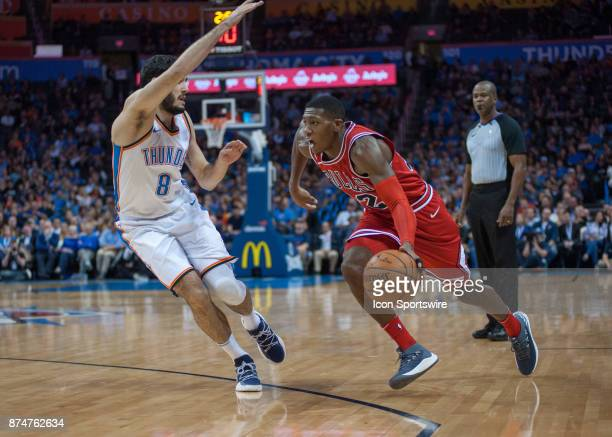 Chicago Bulls Guard Jerian Grant making his move towards the basket while Oklahoma City Thunder Guard Alex Abrines plays defense during an NBA game...