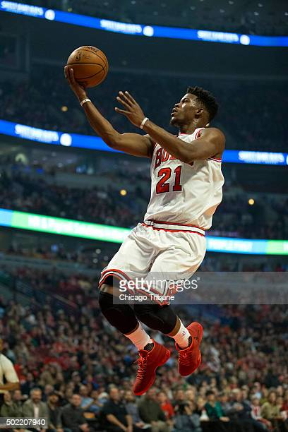 Chicago Bulls guard Jimmy Butler makes a shot during the first half on Monday Dec 21 at the United Center in Chicago