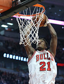 Chicago Bulls guard Jimmy Butler rises for a dunk during the third quarter on Wednesday Jan 7 at the United Center in Chicago