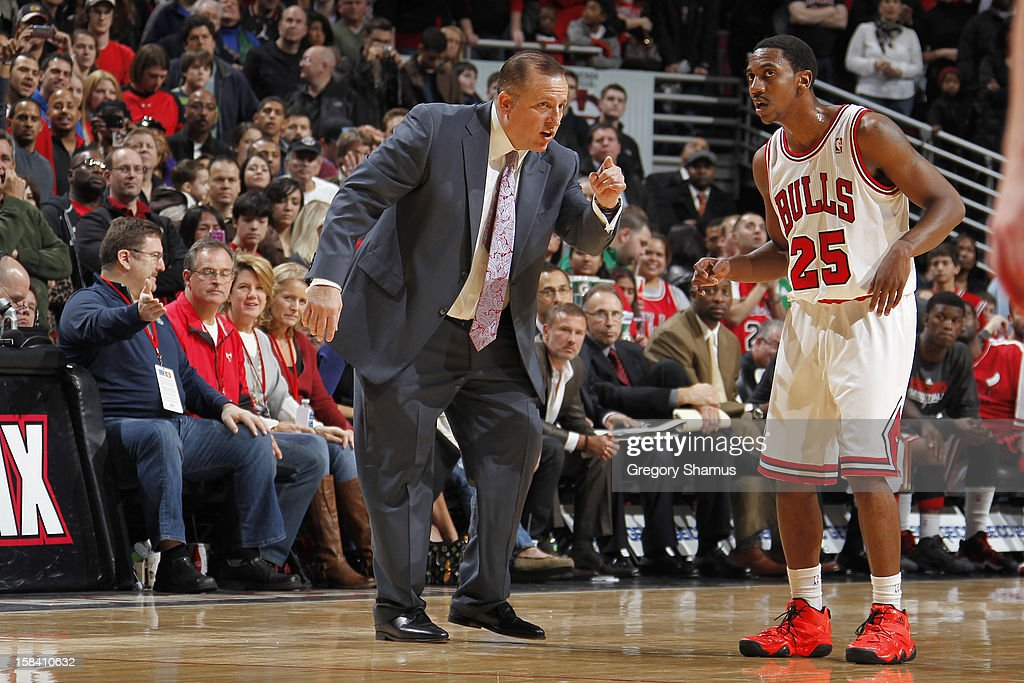 Chicago Bulls Head Coach <a gi-track='captionPersonalityLinkClicked' href=/galleries/search?phrase=Tom+Thibodeau&family=editorial&specificpeople=2162261 ng-click='$event.stopPropagation()'>Tom Thibodeau</a> directs rookie <a gi-track='captionPersonalityLinkClicked' href=/galleries/search?phrase=Marquis+Teague&family=editorial&specificpeople=7621183 ng-click='$event.stopPropagation()'>Marquis Teague</a> #25 during the game against Brooklyn Nets on December 15, 2012 at the United Center in Chicago, Illinois.