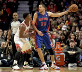 Chicago Bulls' Jimmy Butler guards Detroit Pistons' Tayshaun Prince during an NBA game at the United Center in Chicago Illinois Wednesday January 23...