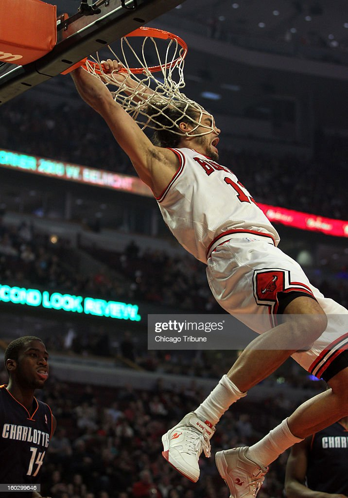 Chicago Bulls' Joakim Noah dunks in the 1st quarter against the Charlotte Bobcats at the United Center in Chicago, Illinois on Monday, January 28, 2013.