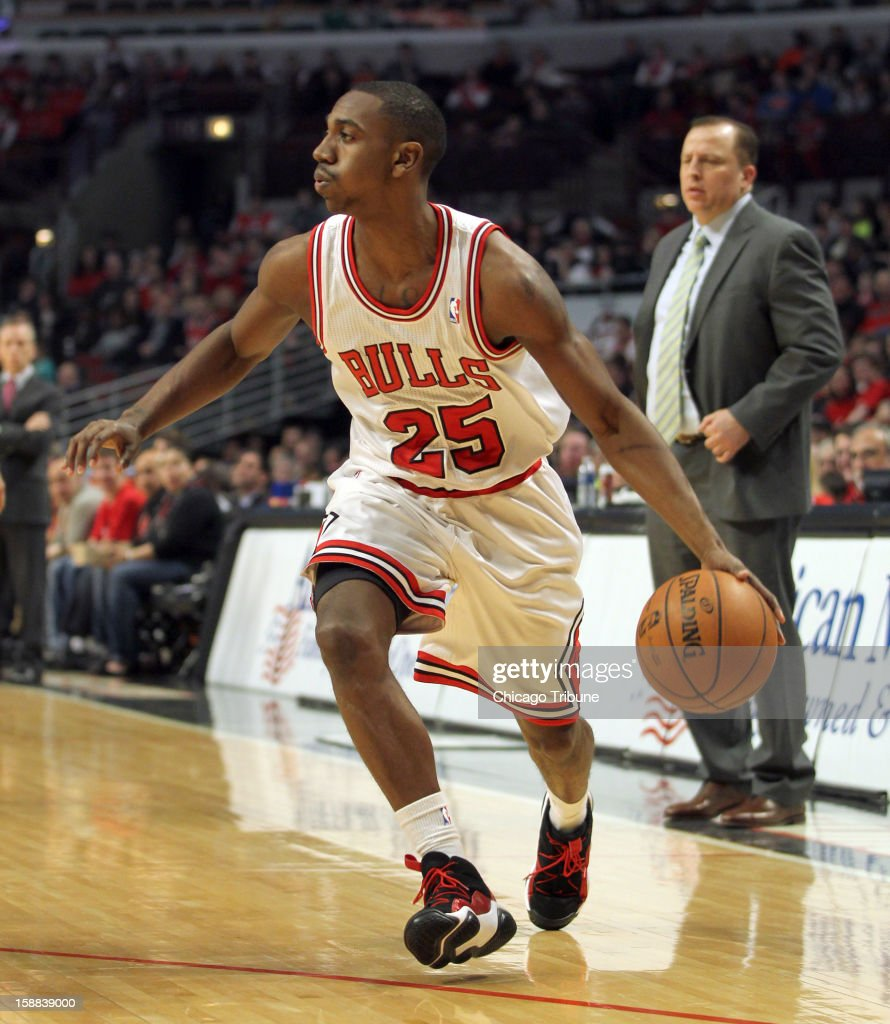 Chicago Bulls' Marquis Teague and head coach Tom Thibodeau are seen during an NBA game against the Charlotte Bobcats at the United Center in Chicago, Illinois, on Monday, December 31, 2012. The Bobcats defeated the Bulls, 91-81.