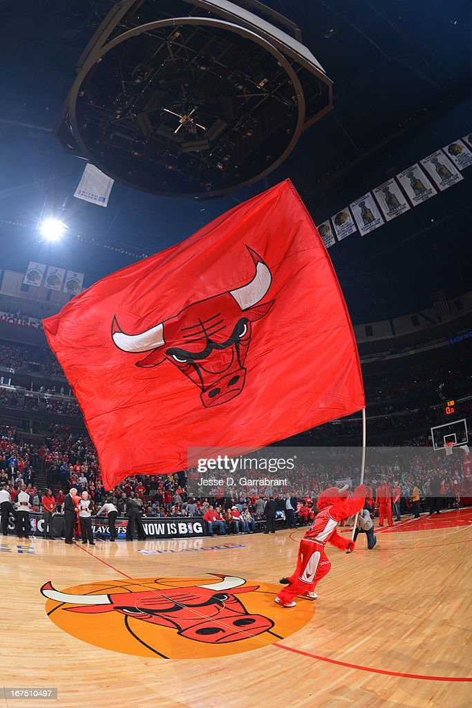 Chicago Bulls mascot Benny the Bull presents the team flag prior to the start of Game Three of the Eastern Conference Quarterfinals against the Brooklyn Nets during the 2013 NBA Playoffs on April 25, 2013 at United Center in Chicago, Illinois.