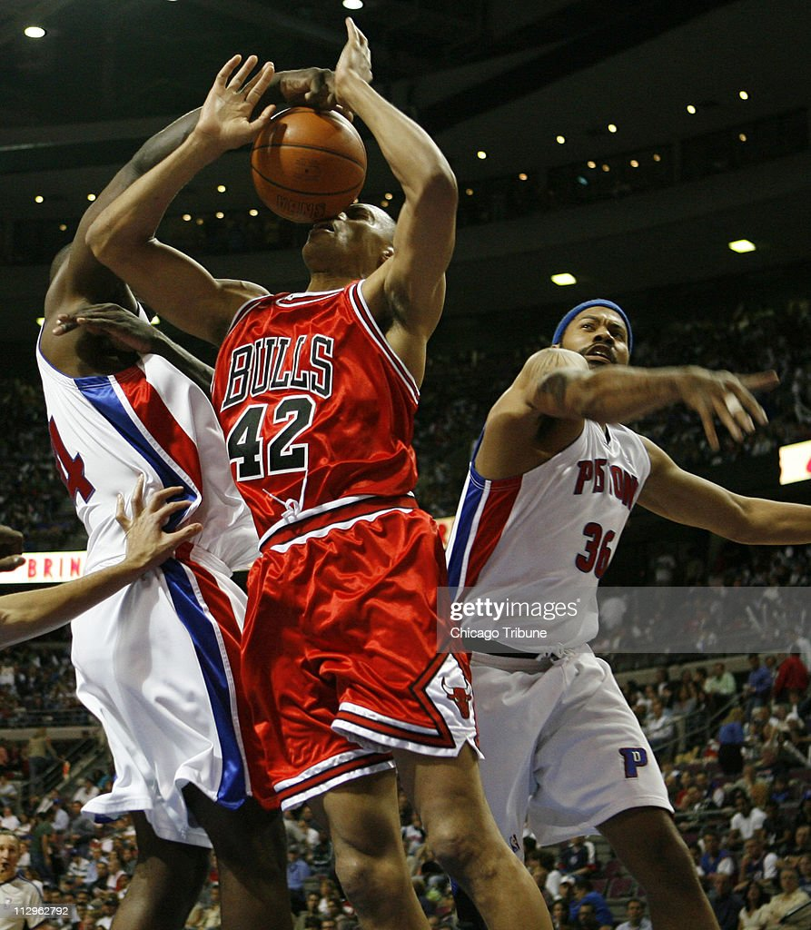 Chicago Bulls P J Brown 42 s fouled by Detroit Pistons