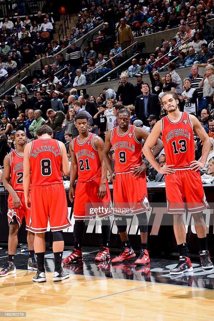 Chicago Bulls players, from left, Marquis Teague #25, Marco Belinelli #8, Jimmy Butler #21, Luol Deng #9 and Joakim Noah #13 wait to resume play action against the San Antonio Spurs on March 6, 2013 at the AT&T Center in San Antonio, Texas.
