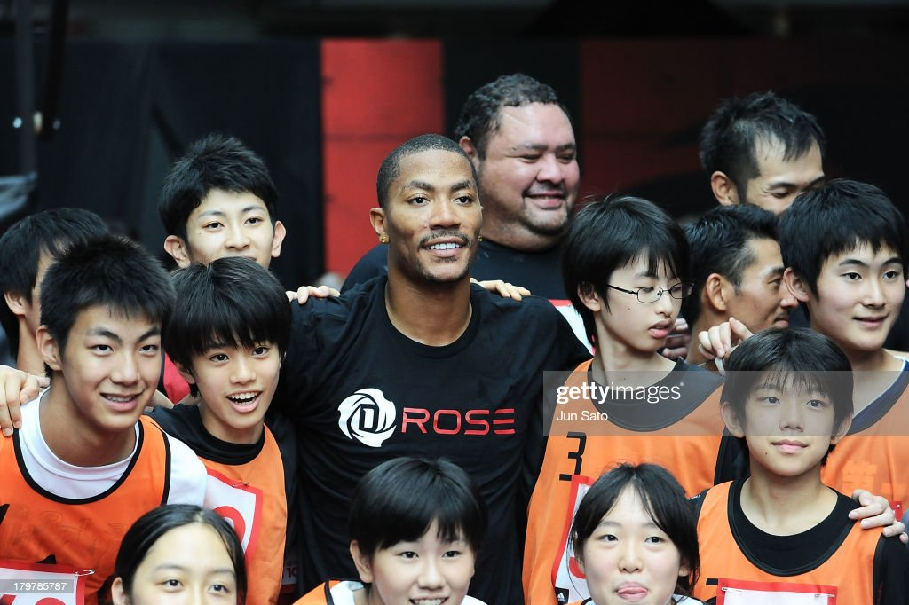 Chicago Bulls point guard <a gi-track='captionPersonalityLinkClicked' href=/galleries/search?phrase=Derrick+Rose&family=editorial&specificpeople=4212732 ng-click='$event.stopPropagation()'>Derrick Rose</a> attends Adidas 'All In For D Rose' at Roppongi Hills on September 7, 2013 in Tokyo, Japan.