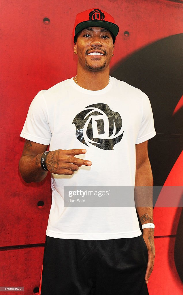 Chicago Bulls point guard <a gi-track='captionPersonalityLinkClicked' href=/galleries/search?phrase=Derrick+Rose&family=editorial&specificpeople=4212732 ng-click='$event.stopPropagation()'>Derrick Rose</a> visits Adidas Performance Center on September 7, 2013 in Tokyo, Japan.