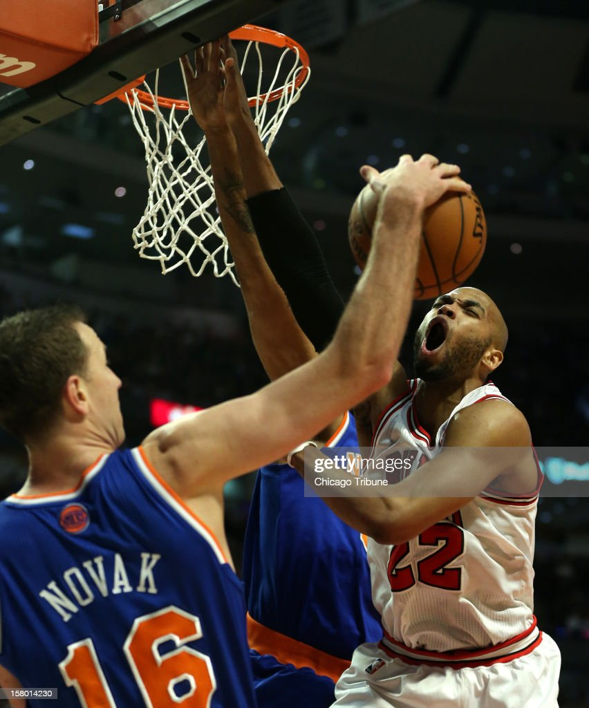 Chicago Bulls power forward Taj Gibson (22) loses control of the ball in the first half against the New York Knicks at the United Center in Chicago, Illinois on Saturday, December 8, 2012.