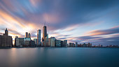Long exposure of the Chicago skyline during sunset.