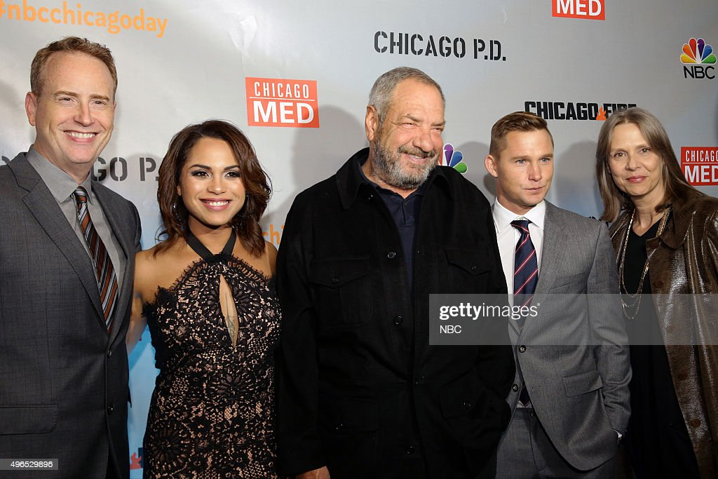 EVENTS -- 'NBC Chicago Celebration Party' -- Pictured: (l-r) Robert Greenblatt, Chairman, NBC Entertainment; Monica Raymund, 'Chicago Fire'; Dick Wolf, Executive Producer, 'Chicago Fire', 'Chicago Med', 'Chicago P.D.'; Brian Geraghty, 'Chicago P.D.'; Amy Morton, 'Chicago P.D.' at STK Chicago on November 9, 2015 --