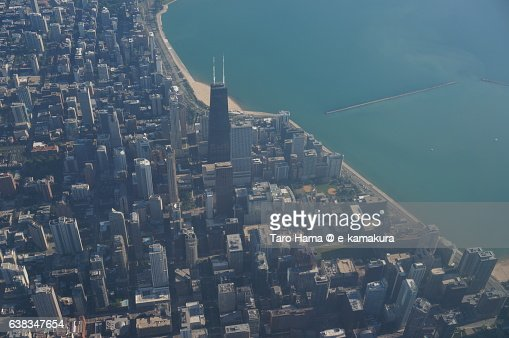Chicago cityscape aerial view from airplane