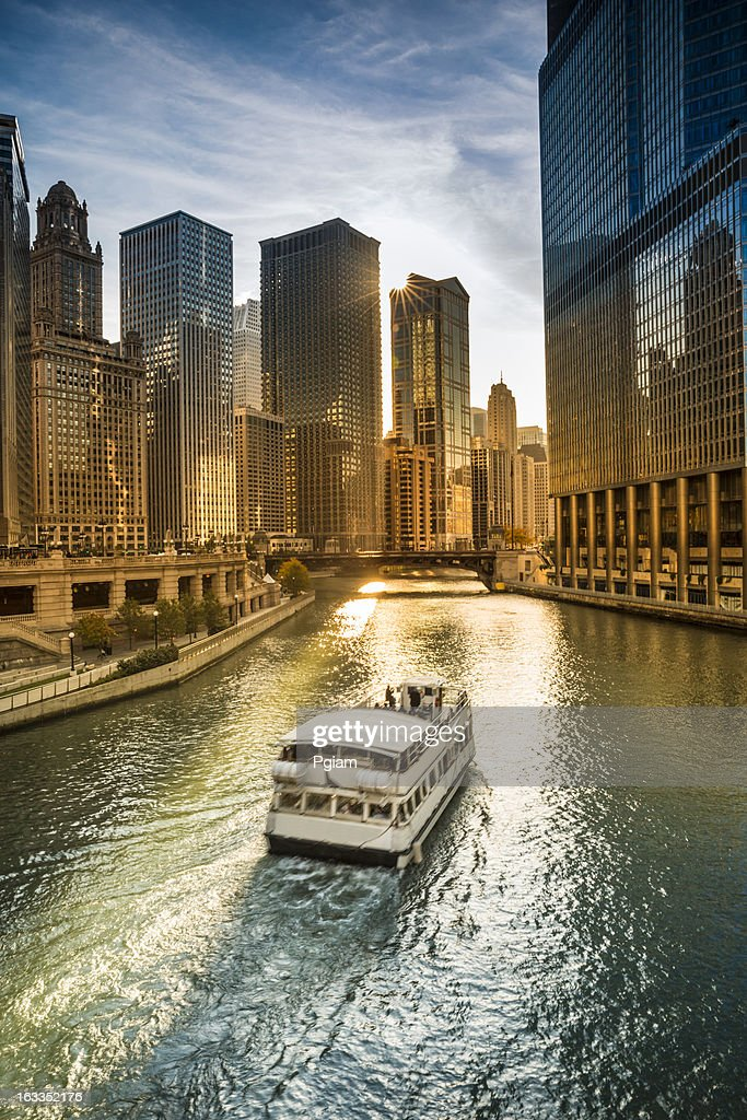 Chicago cityscape and river : Stock Photo