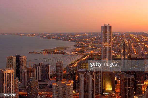 Chicago coastline and downtown view.