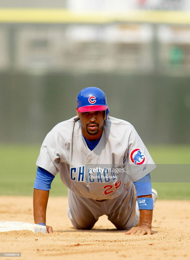 Chicago Cubs 1st Baseman, Derrek Lee, after being forced at 2nd base during the Interleague game against the Chicago White Sox June 26, 2005 at U.S. Cellular Field in Chicago, Illinois. The Cubs would win 2-0.