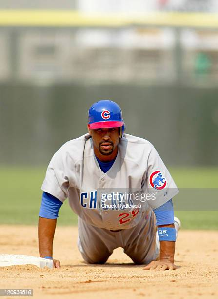 Chicago Cubs 1st Baseman Derrek Lee after being forced at 2nd base during the Interleague game against the Chicago White Sox June 26 2005 at US...