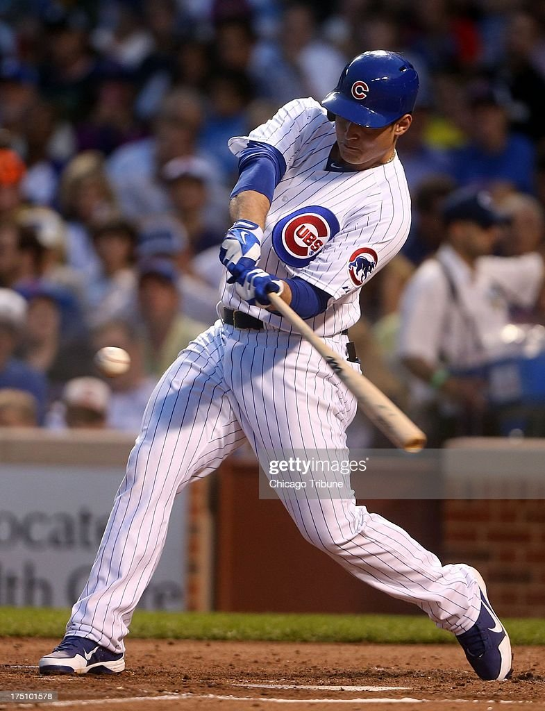 Chicago Cubs' Anthony Rizzo connects on a two-run home run off the Milwaukee Brewers' Wily Peralta in the third inning at Wrigley Field in Chicago, Illinois, on Wednesday, July 31, 2013.