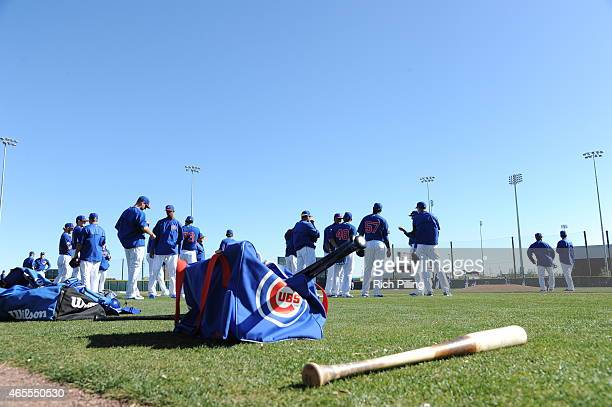 Chicago Cubs ball and bat bags are seen prior to the game between the Chicago Cubs and Cincinnati Reds on March 6 2015 at Sloan Park in Mesa Arizona...