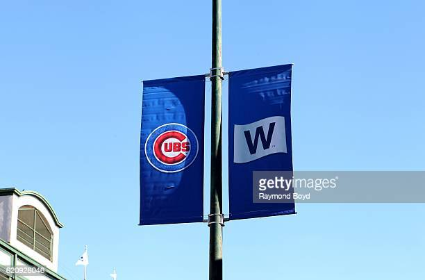 Chicago Cubs banner and 'W' banner hangs on Addison Street outside Wrigley Field home of the Chicago Cubs celebrating the Cubs' world series win...