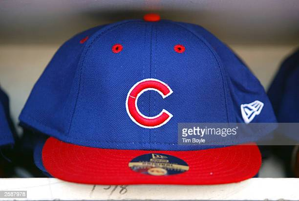 Chicago Cubs baseball hat for sale is displayed outside Wrigley Field October 13 2003 Chicago Illinois The Cubs are one win away from playing in...