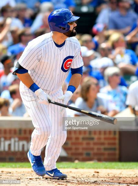 Chicago Cubs catcher Alex Avila watches his home run ball leave the park during the game between the Cincinnati Reds and the Chicago Cubs on August...