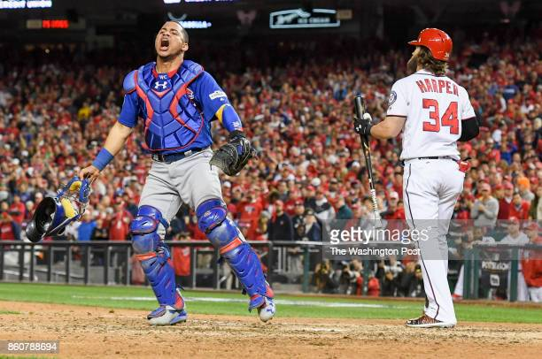 Chicago Cubs catcher Willson Contreras celebrates as Bryce Harper strikes out to end the game in the Nats 93 seasonending loss during game five of...