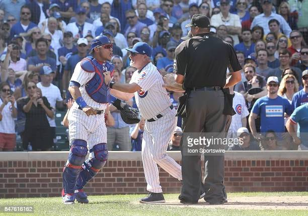 Chicago Cubs Catcher Willson Contreras upset about a call during a game between the St Louis Cardinals and the Chicago Cubs on September 15 at...