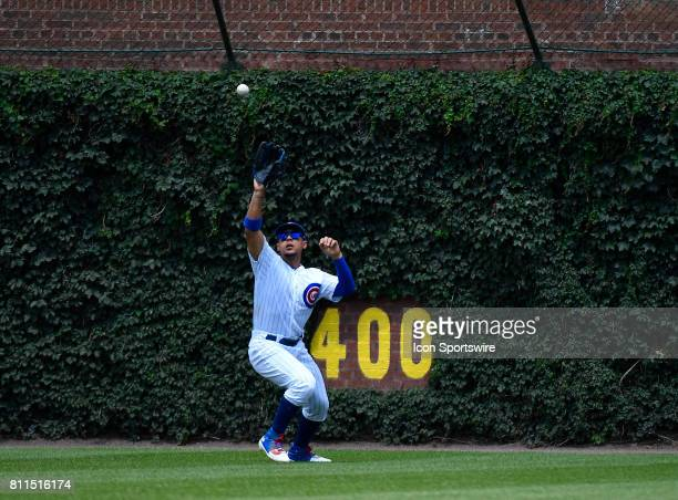 Chicago Cubs center fielder Jon Jay catches the ball for the out during the game between the Pittsburg Pirates and the Chicago Cubs on July 9 2017 at...