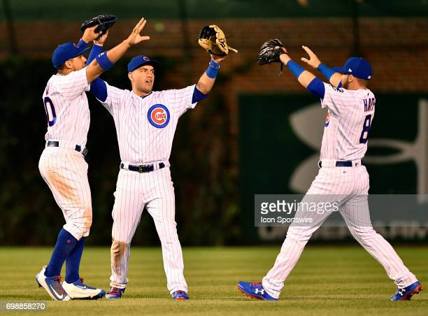 Chicago Cubs center fielder Jon Jay Chicago Cubs center fielder Albert Almora Jr and Chicago Cubs right fielder Ian Happ celebrate the win after the...