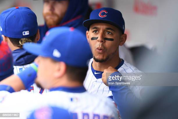 Chicago Cubs center fielder Jon Jay in the dugout prior to a game between the Milwaukee Brewers and the Chicago Cubs on May 19 at Wrigley Field in...