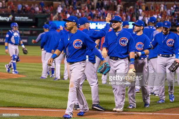Chicago Cubs center fielder Leonys Martin as seen walking back to the dug out after he robbed St Louis Cardinals shortstop Paul DeJong of a home run...