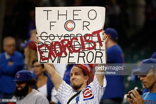 Chicago Cubs fan holds a sign prior to Game Seven of the 2016 World Series between the Chicago Cubs and the Cleveland Indians at Progressive Field on...