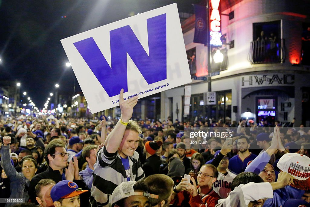 Chicago Cubs fans take to the streets to celebrate the Cubs win in the National League Wild Card Game against the Pittsburgh Pirates on October 7, 2015 in Chicago, Illinois.