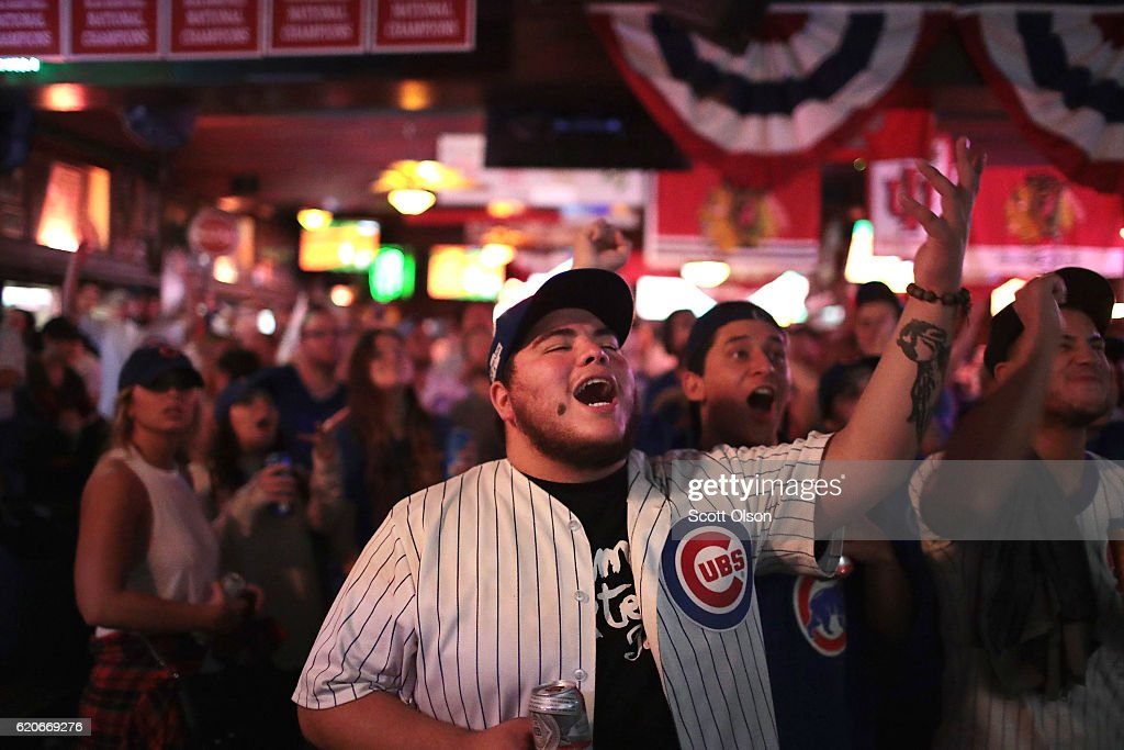Chicago Cubs fans watch the Chicago Cubs play the Cleveland Indians during game seven of the 2016 World Series at Sluggers in the Wrigleyville neighborhood on November 2, 2016 in Chicago, Illinois. The Cubs are looking to secure their first World Series championship since 1908.