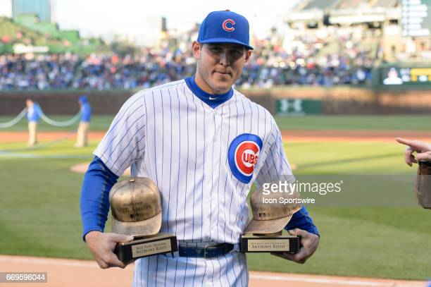 Chicago Cubs First base Anthony Rizzo is awarded with the 2016 Esurance Best Play Defense Award and the 2016 Esurance Best Social Media Personality...